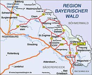 Anfahrtsskizze Mauth im Bayerischen Wald am Nationalpark